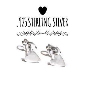 925 Sterling Silver Dainty Heart Stud Earrings